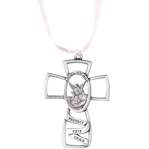 Angel of God, Protect This Child Crib Cross - Pink