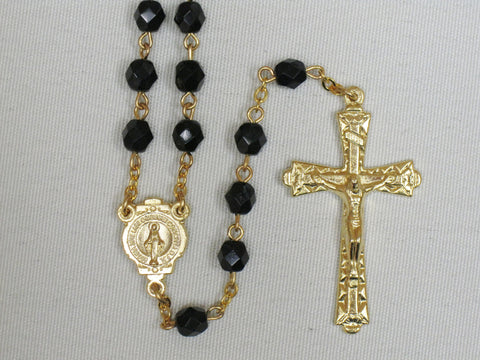 Crystal Cut Rosary Black/Gold Tone
