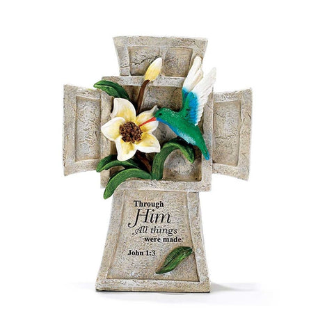 Hummingbird Garden Cross - John 1:3