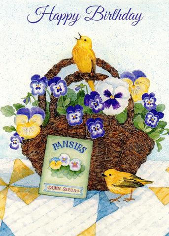 Happy Birthday - Pansy Basket