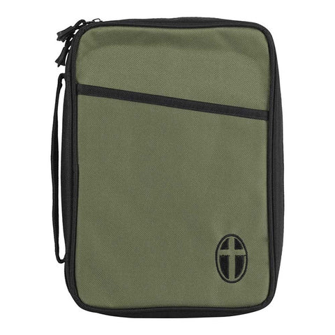 Bible Case - Large Olive Green with Embroidered Black Cross