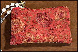 Rose Brocade Rosary Case Red