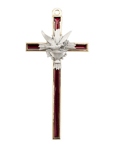 Confirmation Cross Red and Silver 4 1/2""