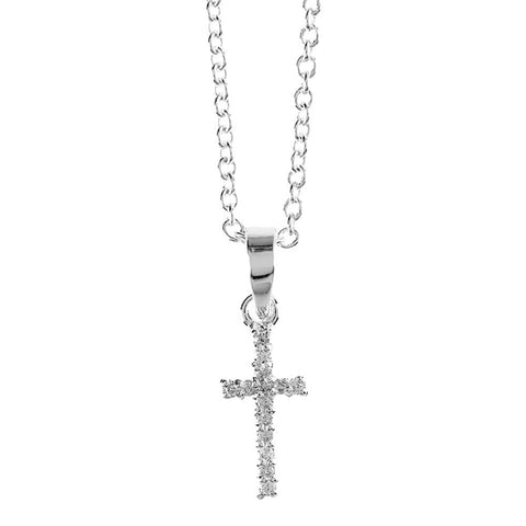 "SP Small Crystal First Communion Cross/16"" Chain"