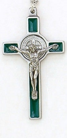 "3"" Benedictine Crucifix Green Enamelled on Chain in Box w/ St. Benedict Medal Card"