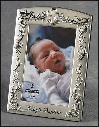 Baby's Baptism Silver Plated Photo Frame