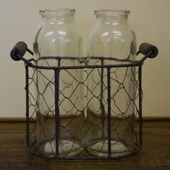 Two Glass Bottle Bud Vases in Wire Basket