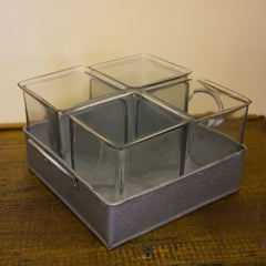 Four Glass Jar Planter with Galvanized Tray