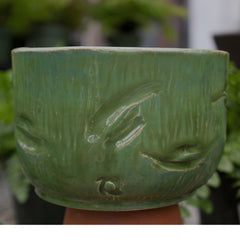 Green Leaf Imprint Pot Round - Little White House Artisans