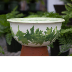 Squat Leaf Print Pot - Little White House Artisans