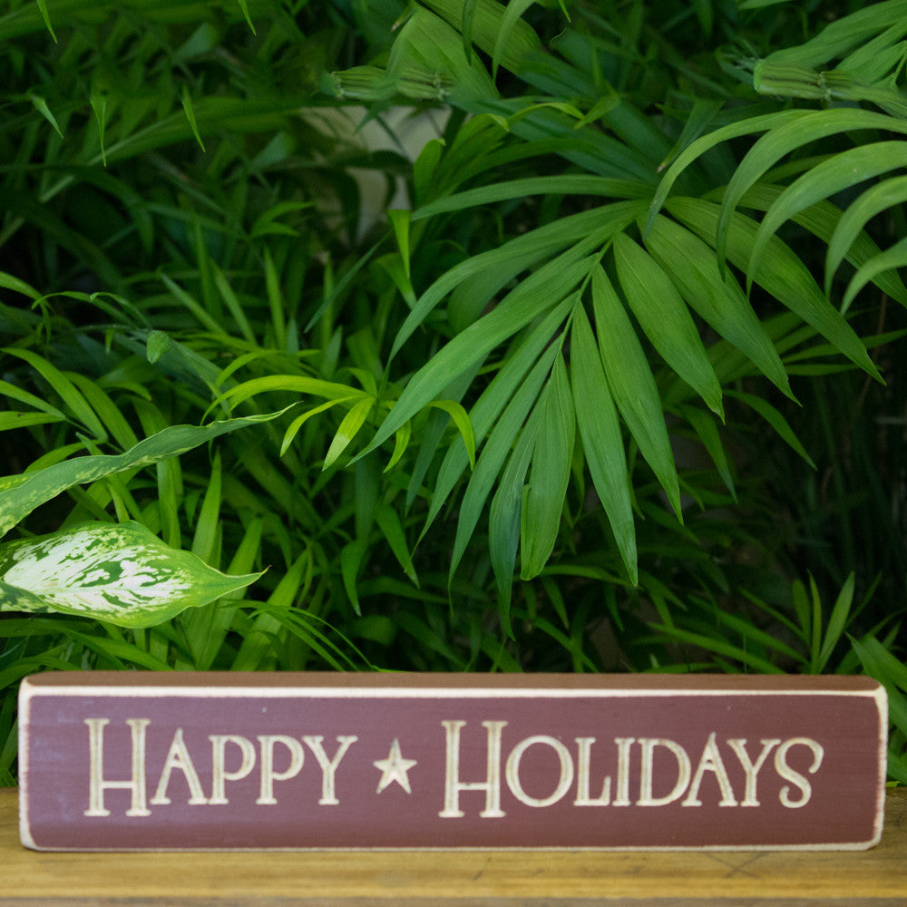 """Happy Holidays"" Engraved Sign"