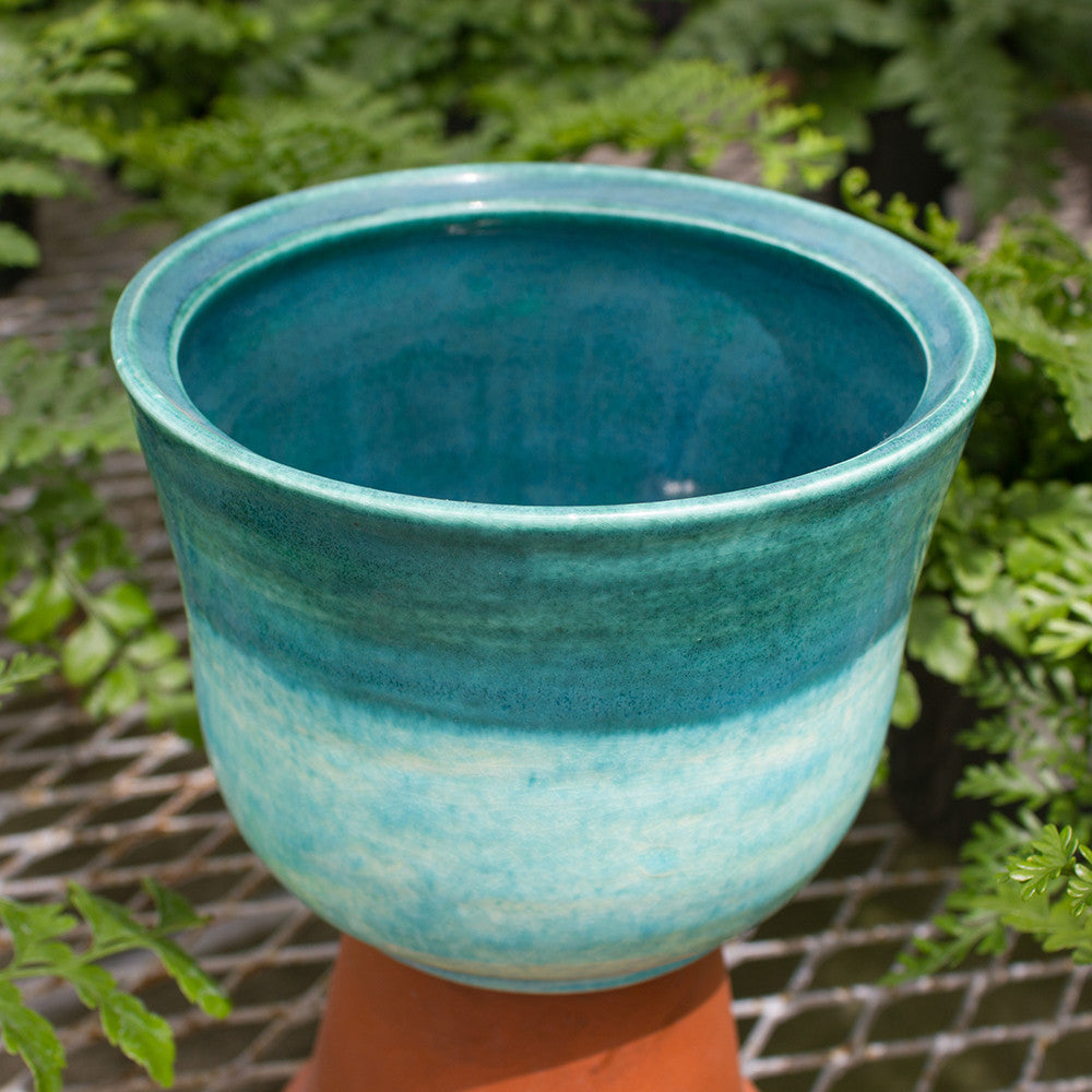 Two-Tone Teal Pot - Little White House Artisans