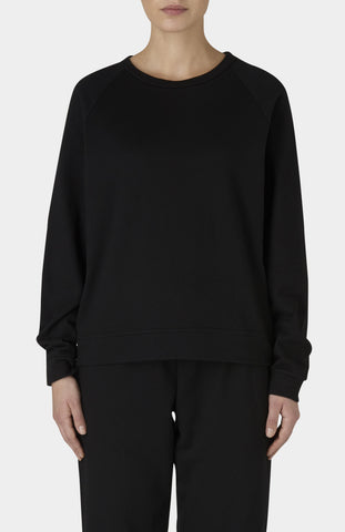 BASERANGE Black Cotton Basic Sweat - Pre-order - Pho. London