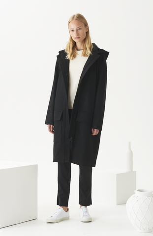 Black Wool Hooded Parka Coat