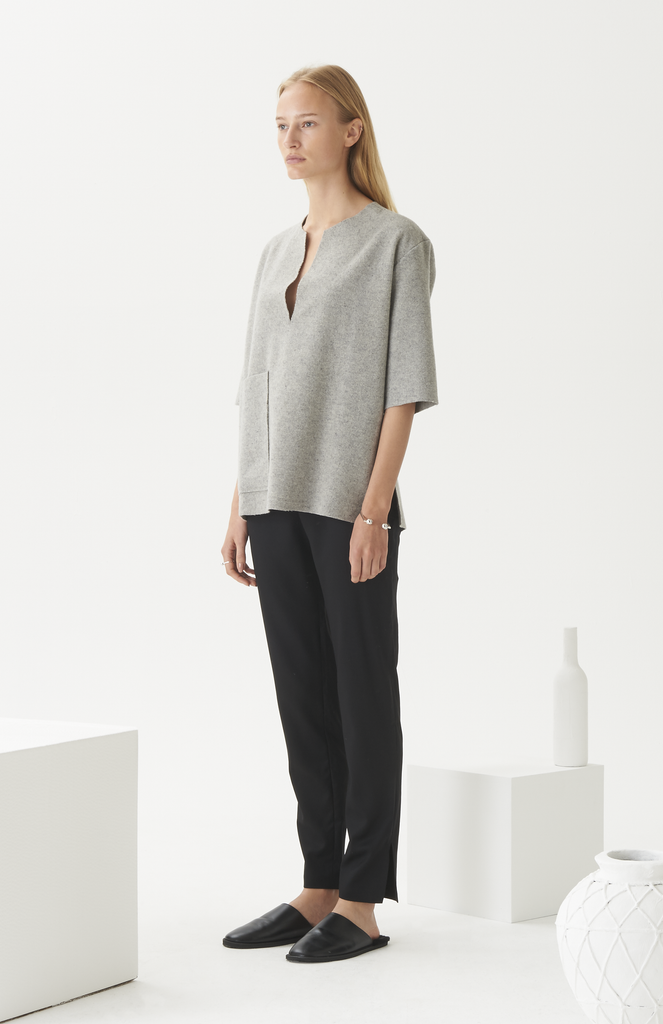 Grey Wool Patch Pocket Top