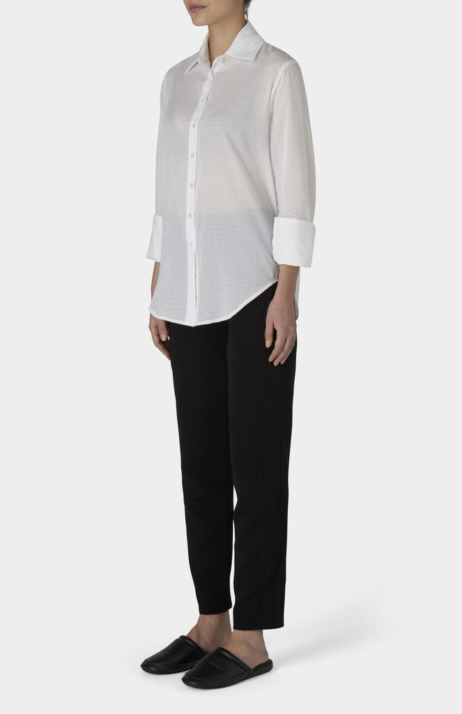 CHARLIE MAY White Cotton Grid Shirt - Pho. London
