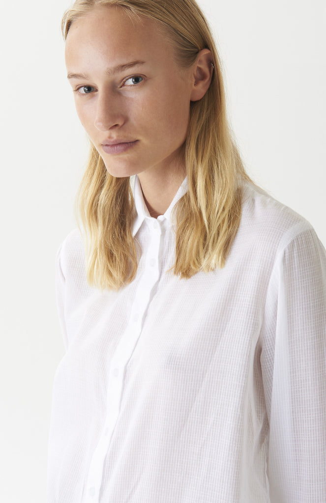White Cotton Grid Shirt