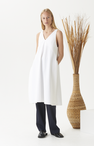 White Linen Split Tunic Dress
