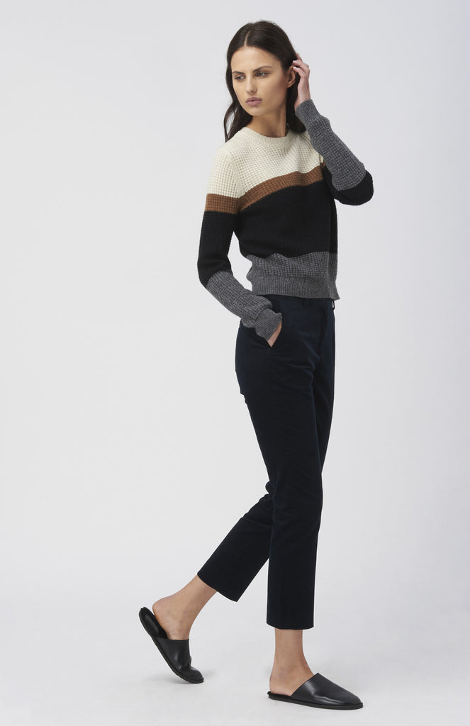 WOOD WOOD Navy Leonor Corduroy Trousers - Pho. London