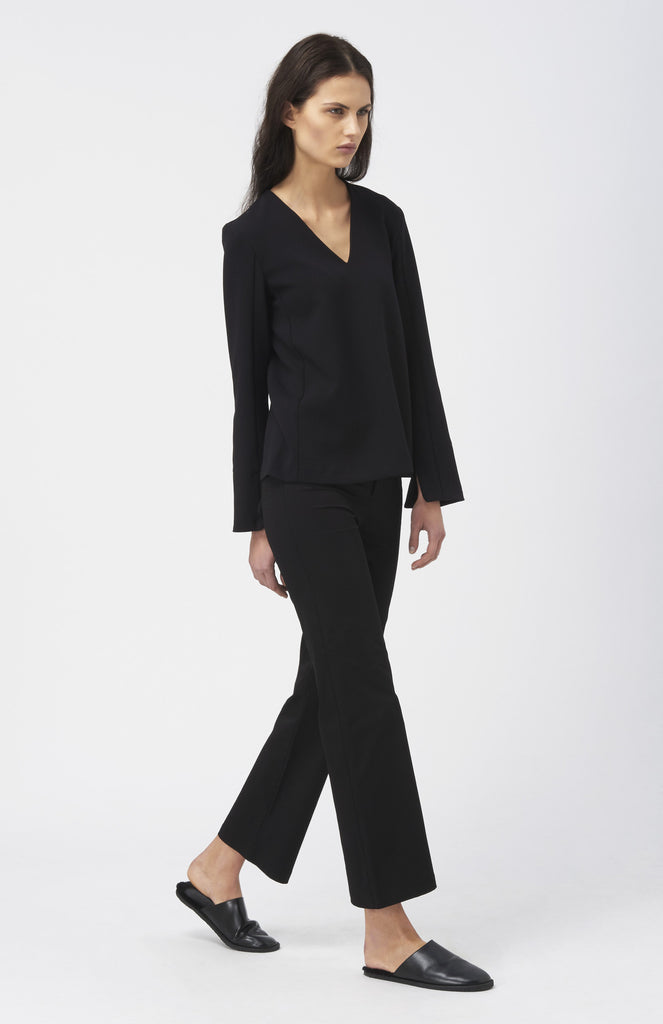 WOOD WOOD Black Susan V Neck Blouse - Pho. London