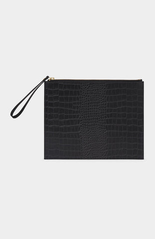 DANIELLE FOSTER Black Croc Leather Zip Pouch - Pho. London