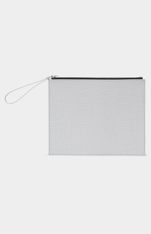 DANIELLE FOSTER Grey Croc Leather Zip Pouch - Pho. London