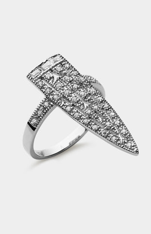 V JEWELLERY Silver Royal Sword Ring - Pho. London
