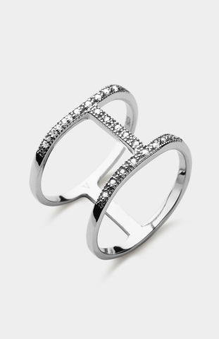 V JEWELLERY Silver Simplicity Spine Ring - Pho. London
