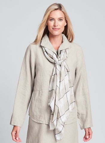 Airy Scarf (shown in Natural Plaid), lightweight Linen scarf by FLAX