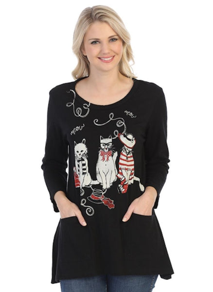 The Aristocat Tunic Top features a whimsical cat-themed design, printed on a solid Black cotton slub background, with a wide rounded neckline, with comfortable 3/4 sleeves, and a loose and flowing shape that flairs below the waist, with two front patch pockets, and a hemline that is slightly longer on the sides, finishing on the thigh.   100% Cotton, machine washable in cold water. (Made in the USA)