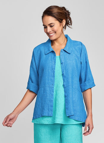Artful Blouse (shown in Azure Yarn Dye* only available in solid Azure), a collared button-down linen blouse, 3/4 sleeves, center seam detail, side slits, 100% Linen (solid or yarn-dyed), FLAX Bold 2021