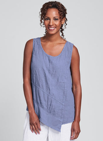 Astoria Tank (shown in Indigo) by FLAX, Urban's signature crinkled Linen, in Regular and Plus sizes.