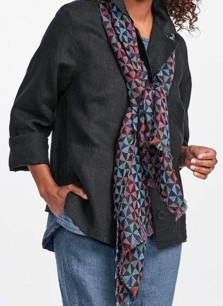 Aurora Scarf, in lightweight 100% Linen Gauze, Colorful geometric pattern.  FLAX Fall Traveler 2019.