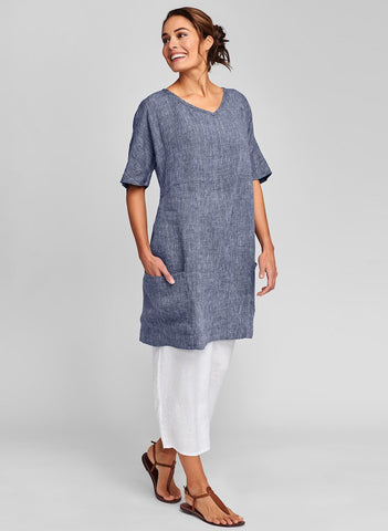 Beachcomber Dress (Midnight Yarn Dye) + Floods (White), FLAX Linen in regular and plus sizes.