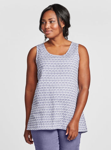 Blossom Tank (shown in Lilac Regalia, paired with the Jogger in solid Lilac), features a scoop neck tank, with a hi-low hemline, woven in 100% Handkerchief-weight Linen, in Solid or Regalia Print, offered in women's regular and plus sizes, UnderFLAX 2021 by FLAX.