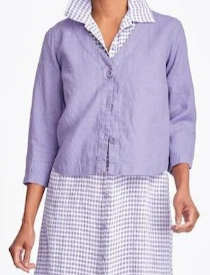 Boxy Cardi (in Lilac) + Dresser (in Lilac Gingham, Gauze)