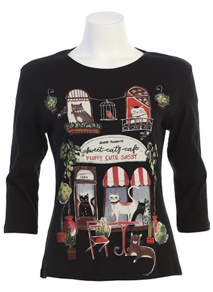 "The Cat Cafe Top features a whimsical cat-themed design, printed on a solid Black cotton background, with a round neckline, comfortable 3/4 sleeves, and a flattering contoured fit, ending at the perfect length between the waist and the hip, so it's ""not too short, and not too long!""  100% Cotton, machine washable in cold water. (Made in the USA)"