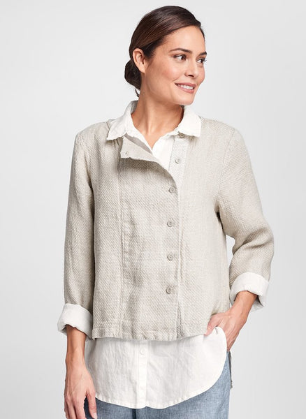 Compelling Cardigan (in Natural Honeycomb), layered over the Crossroads Blouse (shown in Cream), paired with Multi-Facet Pant (in Steel Yarn Dye), 100% Linen, Honeycomb Texture, Contemporary Button-Down Jacket, by FLAX. Collection: Classics Two 2020.