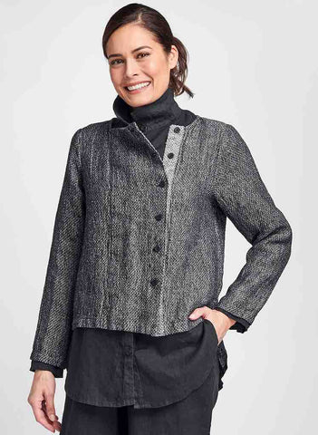 Compelling Cardigan (in Black Honeycomb), layered over the Crossroads Blouse (N/A in Black Handkerchief), paired with Floods (in Black Handkerchief), 100% Linen, Honeycomb Texture, Contemporary Button-Down Jacket, by FLAX. Collection: Classics Two 2020.