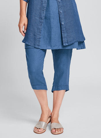Cropped Pant (shown in Ocean), FLAX Linen in regular and plus sizes.