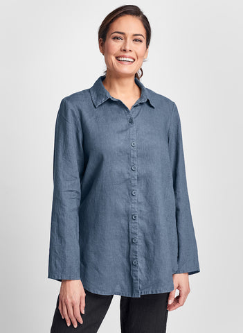 Crossroads Blouse (shown in Steel, blue-grey), quintessential collared, button-down blouse, with long flowing sleeves, and back yoke, 100% Linen (solid colors), by FLAX, in Regular or Plus sizes.  Classics Two 2020