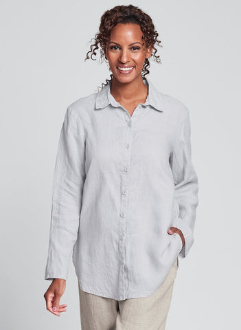 Crossroads Blouse (shown in Dove), 100% Linen, Collared button down blouse with long flowing sleeves, finished with shirttail hem, FLAX brand specialty linen clothing for women, in regular and plus sizes. Collection: Classics 2020