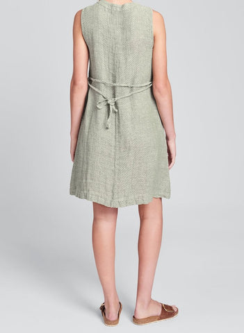 Damsel Dress (showing detachable belt tied in back), available only in Denim Chainstitch.