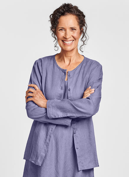 Dis-Cover (shown in Lilac) - a lightweight button-down Linen cardigan, with a high rounded neckline, long sleeves, cut on the bias in back for a contoured fit, woven in 100% Handkerchief-weight Linen (softened), in women's regular and plus sizes, UnderFLAX 2021.