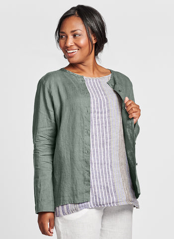 Dis-Cover (shown in Thyme) - a lightweight button-down Linen cardigan, with a high rounded neckline, long sleeves, cut on the bias in back for a contoured fit, woven in 100% Handkerchief-weight Linen (softened), in women's regular and plus sizes, UnderFLAX 2021.