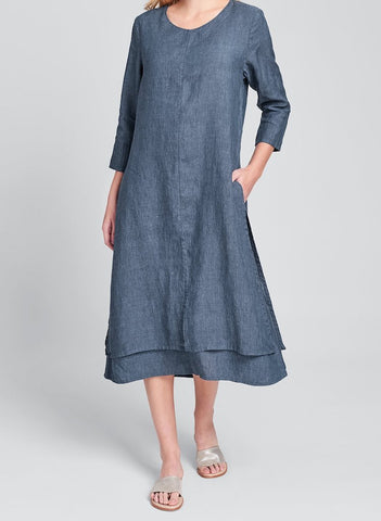 Encore Dress (shown in Denim Yarn Dye), FLAX Linen in regular and plus sizes.