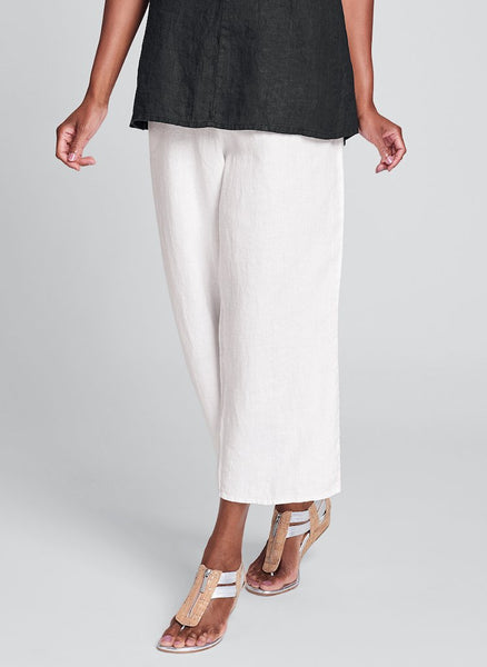 Floods (shown in solid Cream), 100% Linen pant, elastic waist, side pockets, ankle length (or just above, depending on height), by FLAX, Classics Two 2020