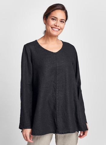 Flourish Pullover (shown in Black), a flattering long sleeved top with button tabs, a soft v-neckline, and seam detail. 100% Linen, by FLAX, Collection: Classics Two 2020