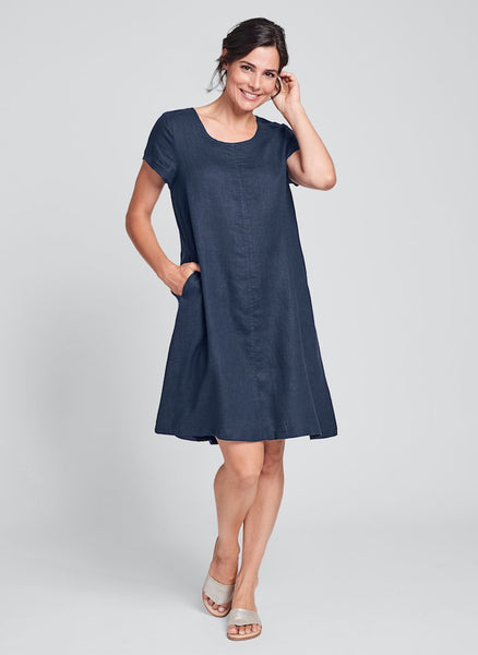 Garden Party Dress (shown in Blue Night) by FLAX, Handkerchief Linen in Regular and Plus sizes.