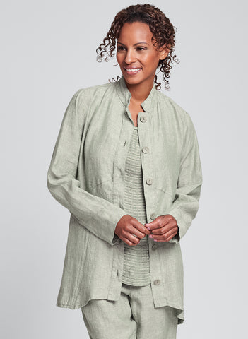 Globetrotter Jacket (shown in Green Tea Yarn Dye), 100% Linen, Stand up Collar, Empire waist seam detail, Long Sleeves, Corozo Buttons down the front, in Regular and Plus sizes.